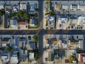 top view shot of rows of houses
