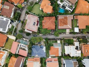 top view shot of a residential area