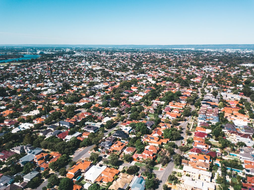 top view shot of a neighbourhood
