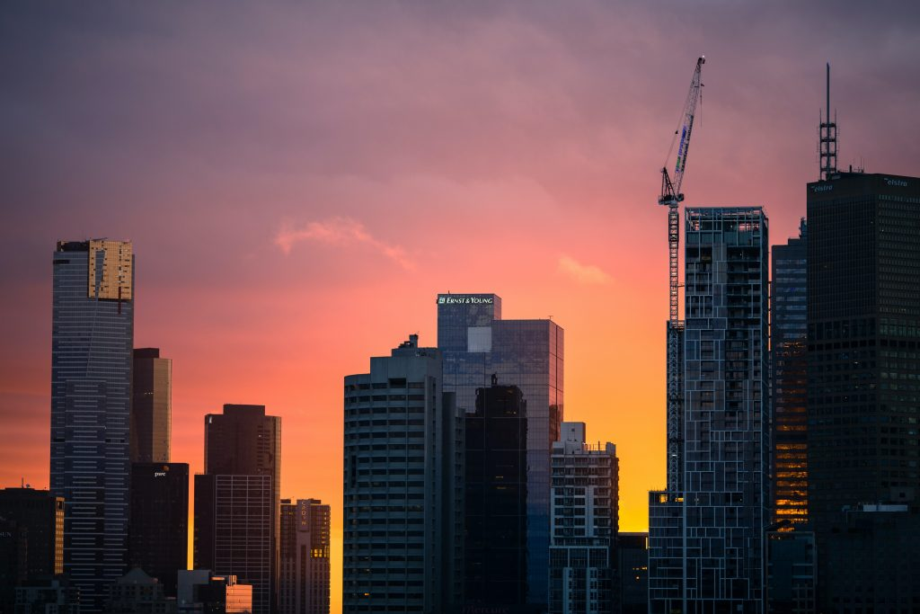 shot of high-rise buildings against the sunset