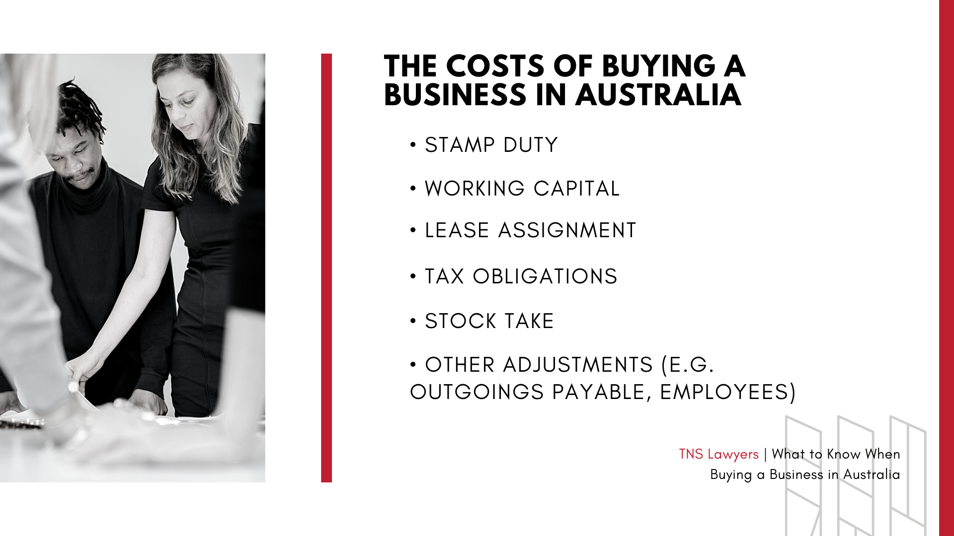 the costs of buying a business in Australia