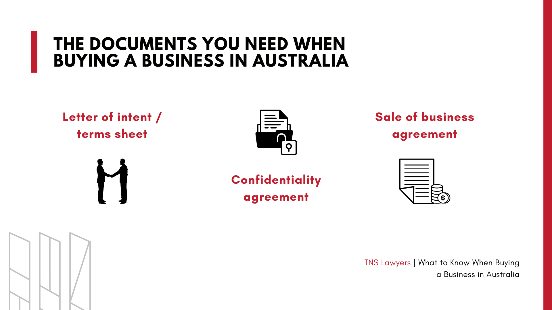 documents you need when buying a business in Australia