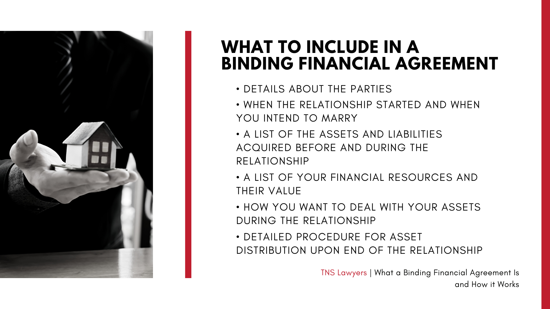 what you should include in a binding financial agreement