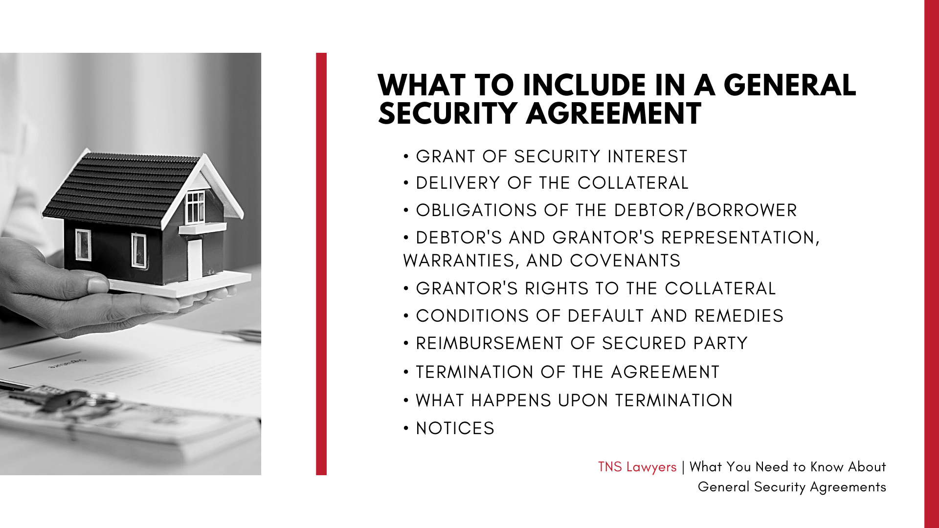 what clauses can you include in a general security agreement